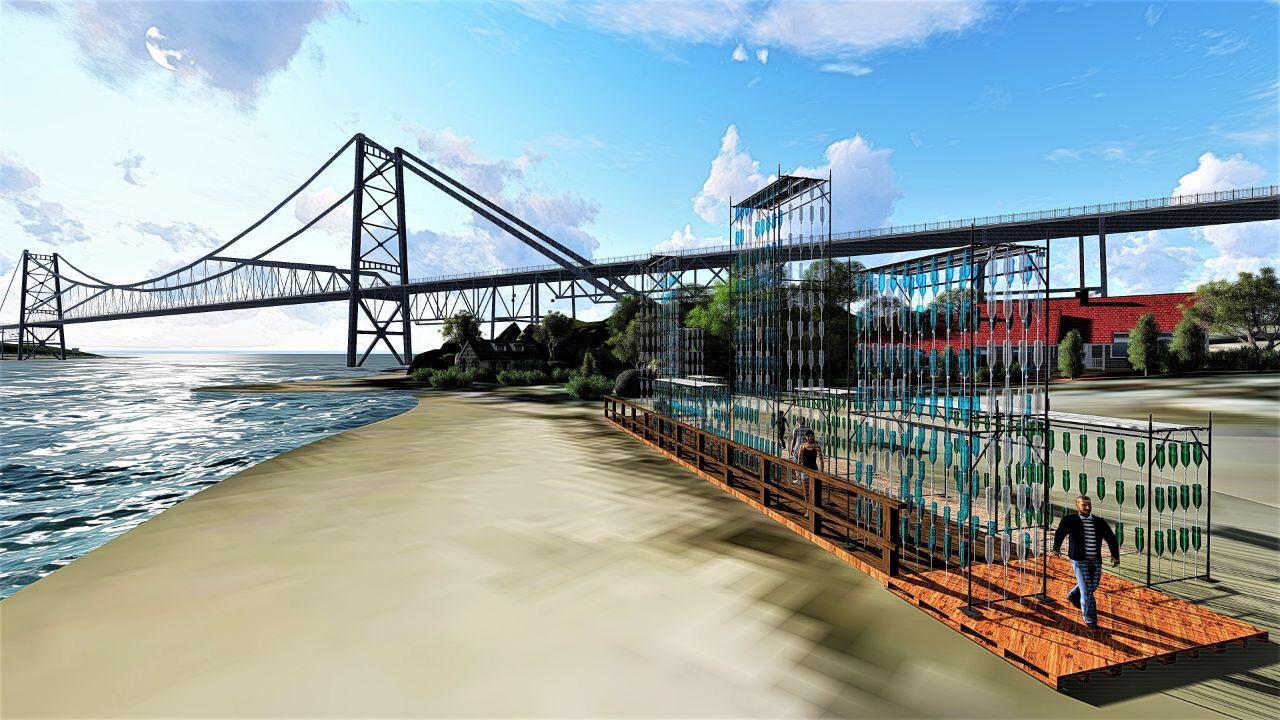 Arquitetos instalam equipamento efêmero e interativo na cabeceira da ponte Hercílio Luz, em Florianópolis