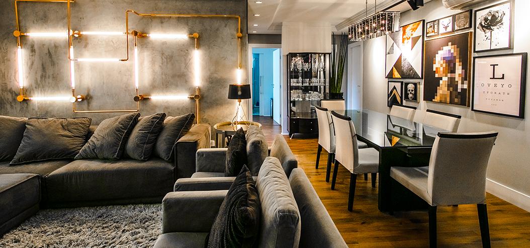 Arquiteto apresenta proposta arrojada e informal para apartamento em Curitiba