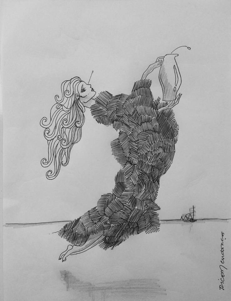 Rico Mendonça apresenta as referências da coleção de gravuras Mulheres Nuvens a alunos de design de interiores